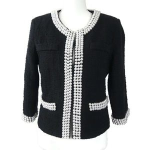 12 BOSTON PROPER Embellished Pearl Tweed Jacket